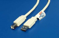 Kabel Value USB A-B 0,8m USB 2.0, bílý/šedý
